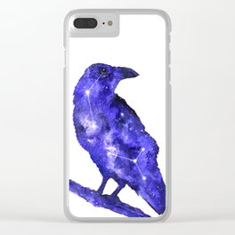 Purple Raven Painting | Space Raven | Raven Constellation | Space Animals Clear iPhone Case