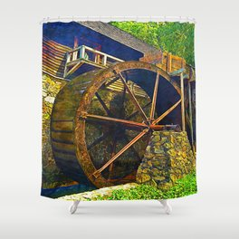Gristmill Water Wheel Shower Curtain