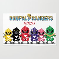 power rangers Area & Throw Rugs featuring Drupal Ninjas rangers by Enishi
