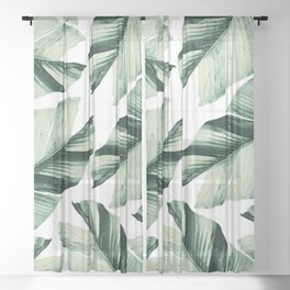 Tropical Banana Leaves Vibes #1 #foliage #decor #art #society6 Sheer Curtain