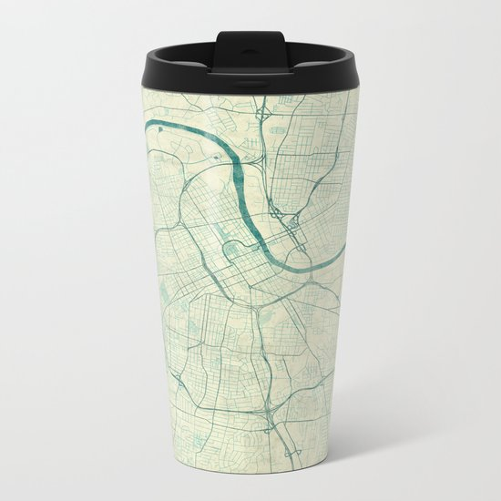 Nashville Map Blue Vintage Metal Travel Mug