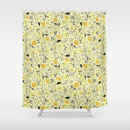 Yellow, Green & Black Floral/Botanical Pattern Shower Curtain