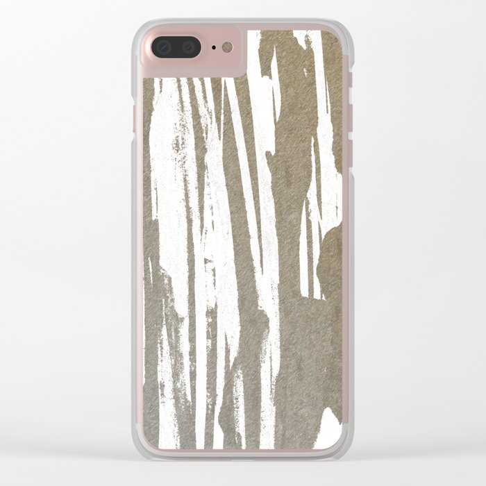 Abstract Taupe Splash Design Clear iPhone Case