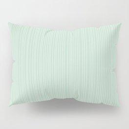 Simple Delicate Unequal Textured Minimalist White Stripes   Misty Jade Color Pillow Sham