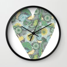 Green Patterned Heart Wall Clock