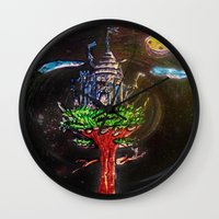 castle in the sky Wall Clocks featuring Castle in the Sky by Sarah Maurer