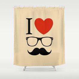 I love glasses and mustaches Shower Curtain