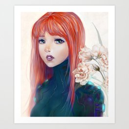 Captain Goldfish - Anime sci-fi girl with red hair portrait Art Print