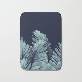 Navy Blue Banana Leaves Dream #1 #tropical #decor #art #society6 Bath Mat