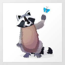 raccoon and butterfly. Vector graphic character Art Print