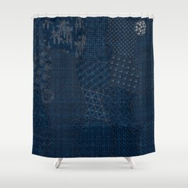 Sashiko - random sampler Shower Curtain