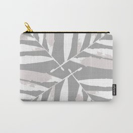 Geometric white light grey silver autumn fall tropical pattern Palm leaves Christmas society6 Carry-All Pouch