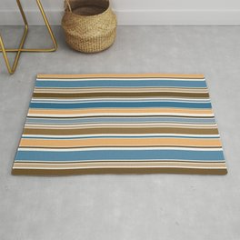 Wedgewood, Brown and Saffron Horizontal Stripes Rug