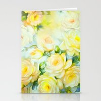 shabby chic Stationery Cards featuring Shabby Chic Yellow by Jacqueline Maldonado