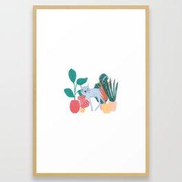 Cat Plants Framed Art Print