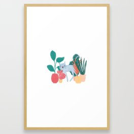 Cat Plants Framed Art Print