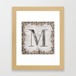 Neutral Monogram M Framed Art Print