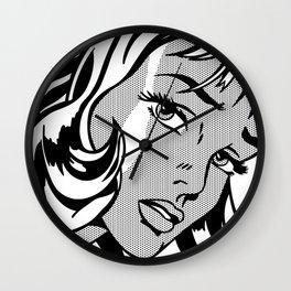 Girl with Hair Ribbon B&W Wall Clock
