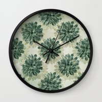 succulents Wall Clocks featuring Succulents by Sandra Arduini