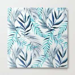 Blue Palm Leaves Metal Print