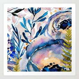 Flowers watercolor blue Art Print