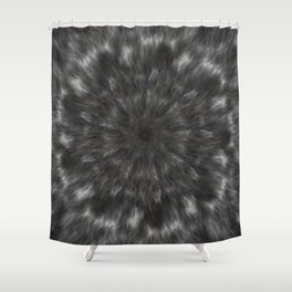 Radial Fur Texture  - Grayscale and Gold Shower Curtain