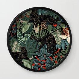 Tropical Black Panther Wall Clock