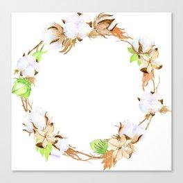 Watercolor Cotton Boll Wreath Canvas Print