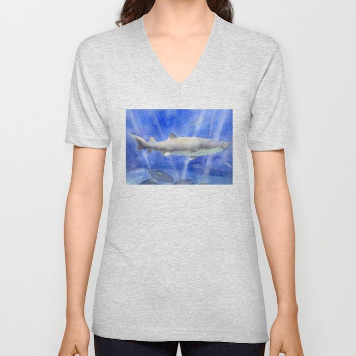 Shark Watercolor Painting Unisex V-Neck