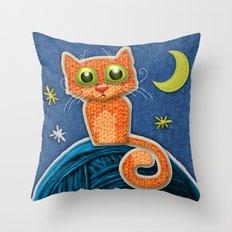 Fabric Cat Throw Pillow