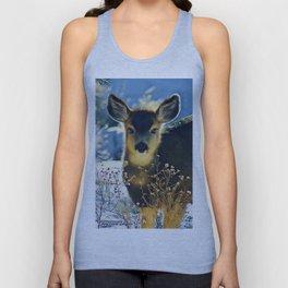 Blue Baby Deer in Winter Light by CheyAnne Sexton Unisex Tank Top