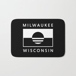 Milwaukee Wisconsin - Black - People's Flag of Milwaukee Bath Mat