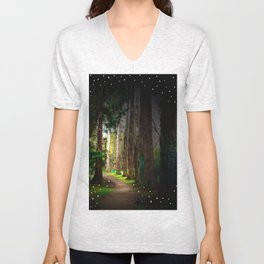 Magical Irish Forest Photography Children Fairy Tale Nursery Home Decor Print Unisex V-Neck