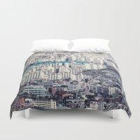 metropolis Duvet Covers featuring Metropolis by Karolina Ostrowska