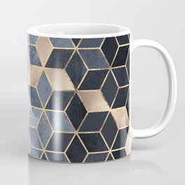 Soft Blue Gradient Cubes Coffee Mug