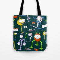 monsters Tote Bags featuring MONSTERS!!! by d.ts