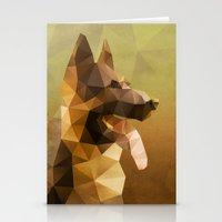 german shepherd Stationery Cards featuring The German Shepherd by Ed Burczyk