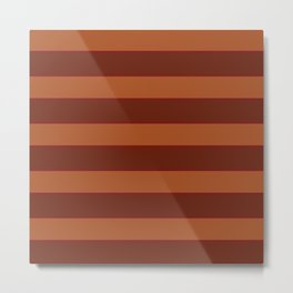 Orange Horizontal Stripes Metal Print