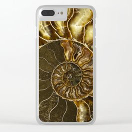 Earth treasures - Brown and yellow ammonite Clear iPhone Case