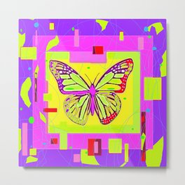 Artistc Colored Fantasy Monarch Butterfly in Lime & Pink Summer Metal Print