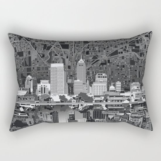 indianapolis city skyline black and white Rectangular Pillow