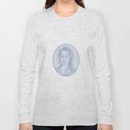 18th Century Russian Empress Bust Oval Drawing Long Sleeve T-shirt
