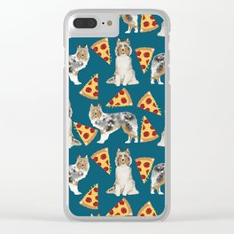 Sheltie shetland sheepdog pizza slices cheese pizzas dog breed pet friendly custom dogs Clear iPhone Case
