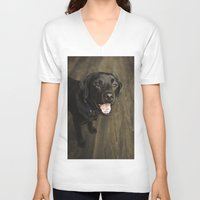 lab V-neck T-shirts featuring Black Lab by Every Dog Has a Story