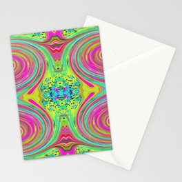 Groovy Abstract Pink Swirl Art 094 Pattern Stationery Cards