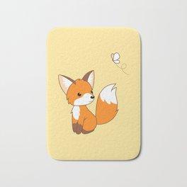 Cute Little Fox Watching Butterly Bath Mat