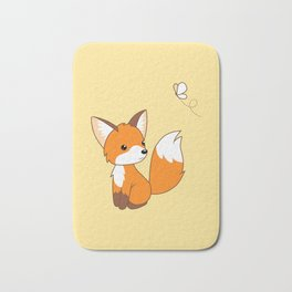 Cute Little Fox Watching Butterly Bath Mat