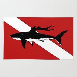 DIVER DOWN - great white shark dive Rug