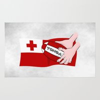 rugby Area & Throw Rugs featuring Tonga Rugby Flag by mailboxdisco