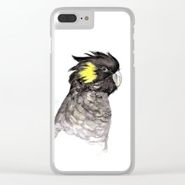 Yellow Tailed Black Cockatoo Clear iPhone Case